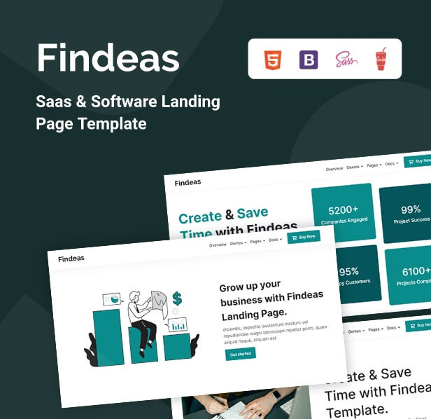 Findeas – Saas & Software Landing Page Template - 1
